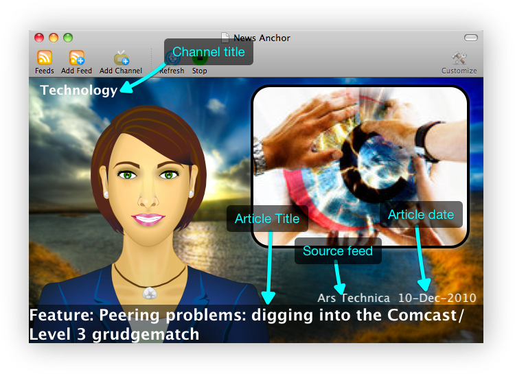 News Anchor studio elements with text to speech news reader