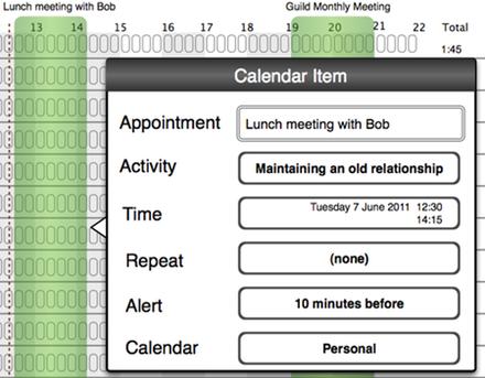 Calendar item popup