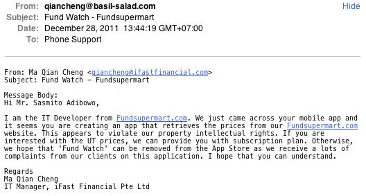 Fundsupermart notice to take down Fund Watch