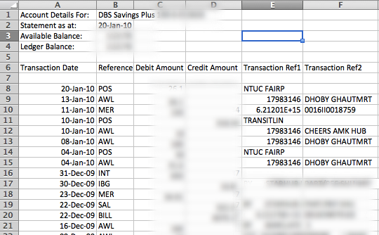 DBS Bank's CSV output - shown in Excel