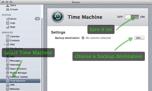 Time Machine server setup