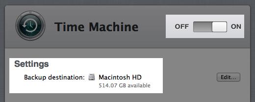 Time Machine configured