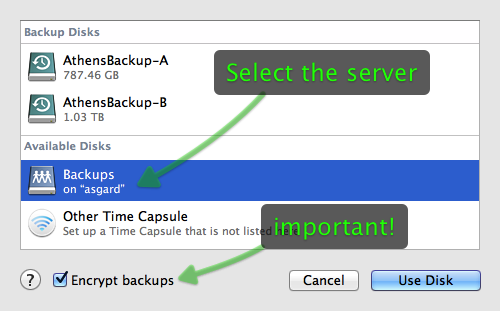 Selecting the server backup disk