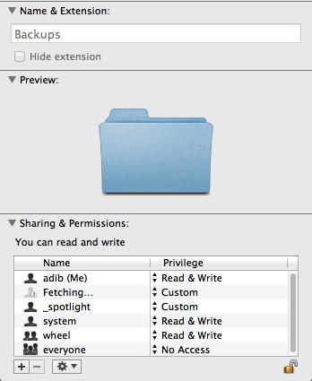 Backup folder permissions