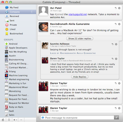 Gabble  Yammer Mac Client