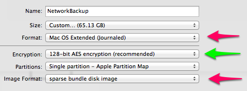 Time Machine Disk Image Settings