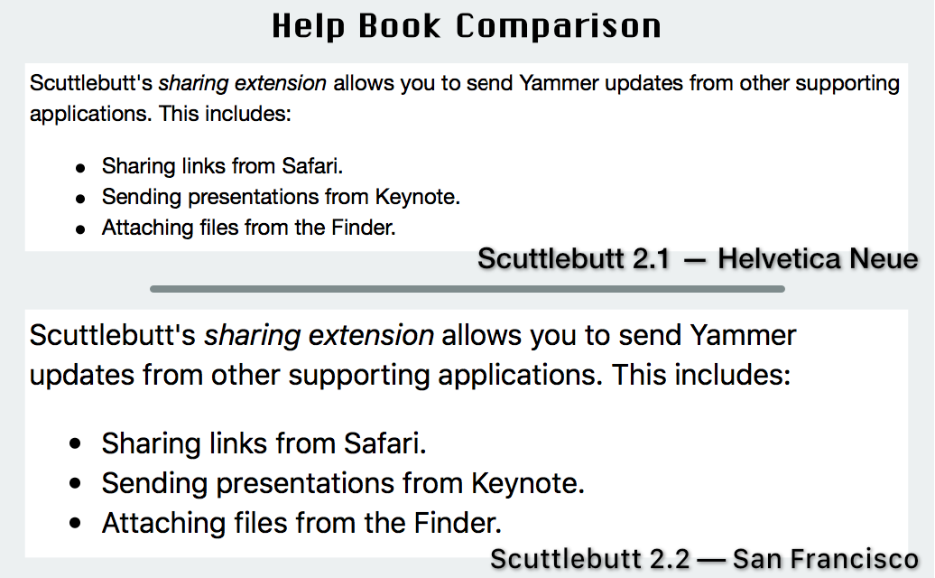 Scuttlebutt help book comparison