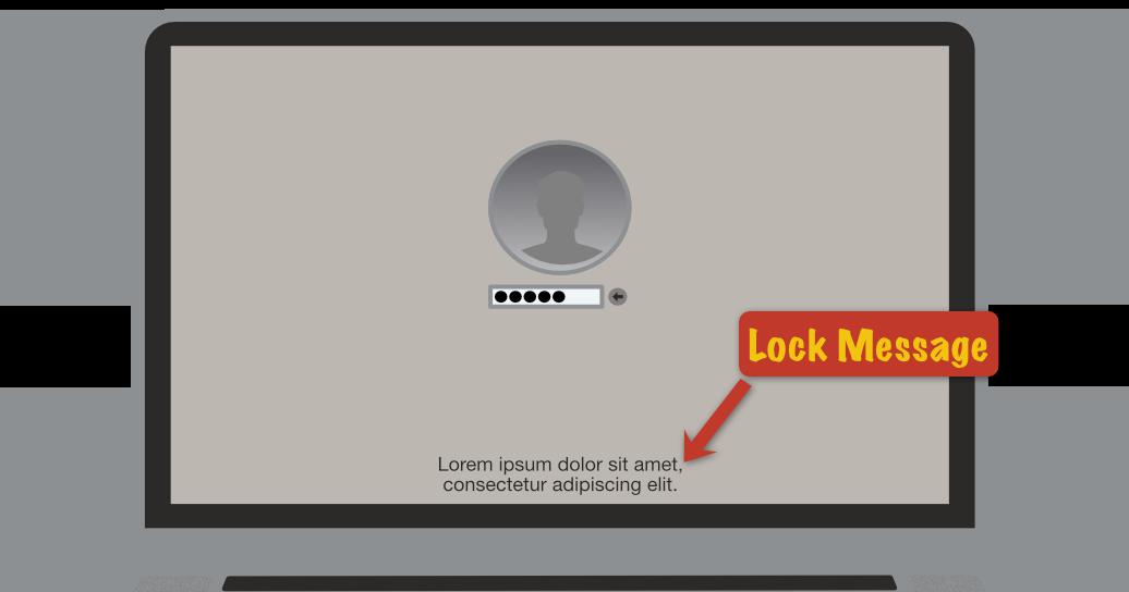 macOS lock message